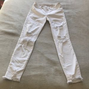 AE next level stretch crop high waisted 00 white distressed jeans BNWOT